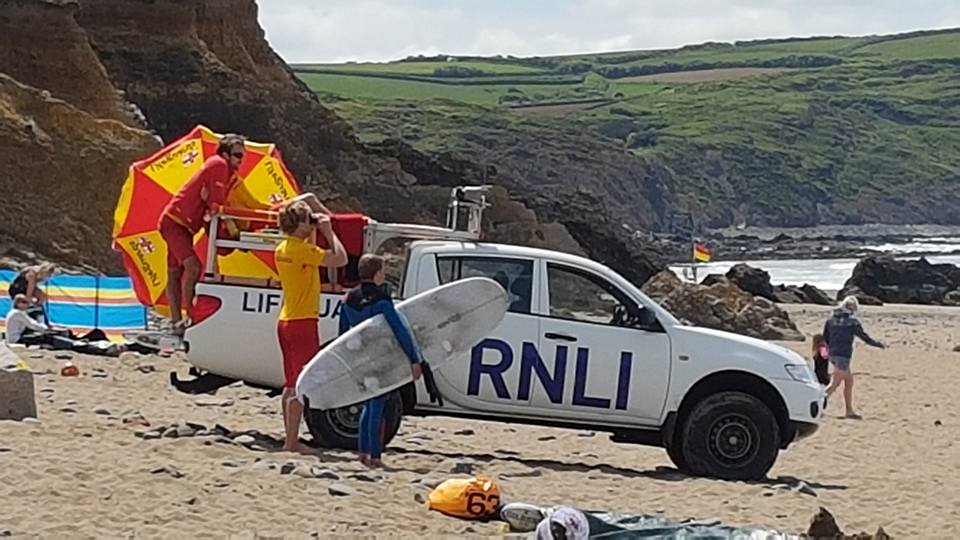 z.RNLI surfguards on duty at Widemouth   21st May 2017